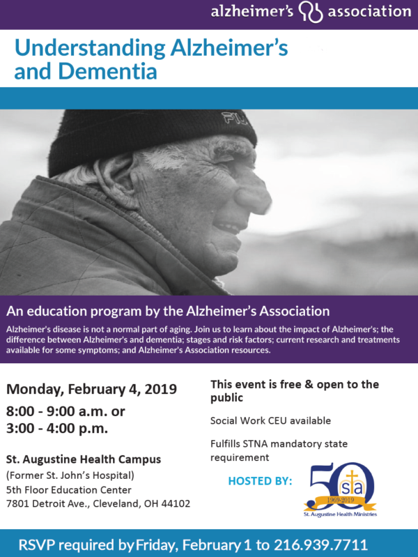 UNDERSTANDING ALZHEIMER'S AND DEMENTIA @ St. Augustine Health Campus, 5th Floor Education Center